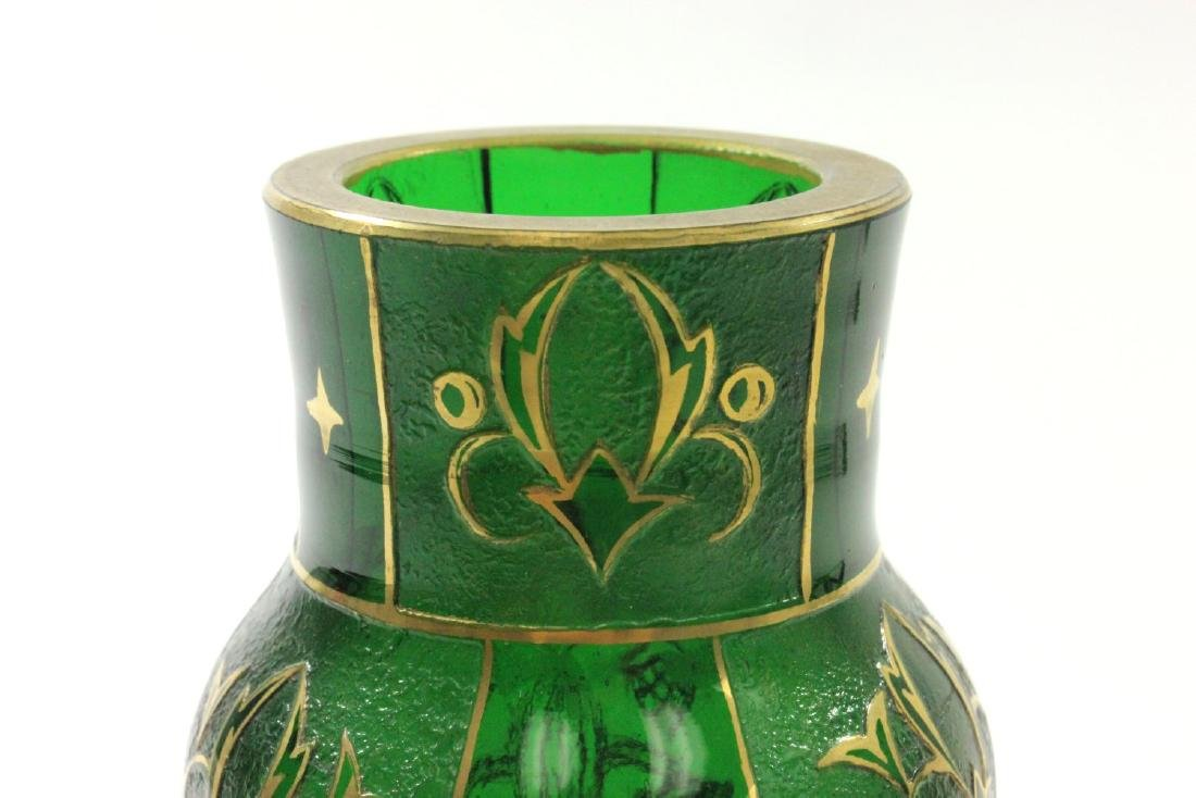 Pair Czech Green Glass Etched & Gilded Vases - 3