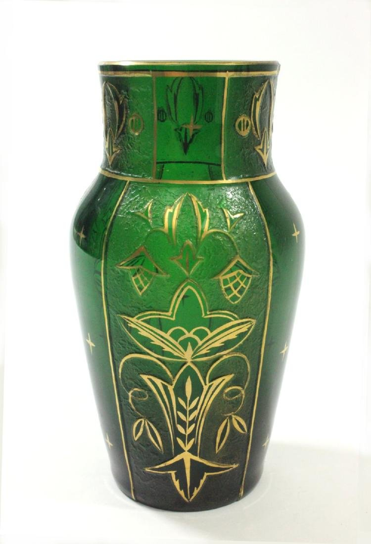Pair Czech Green Glass Etched & Gilded Vases - 6