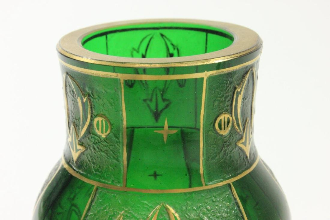 Pair Czech Green Glass Etched & Gilded Vases - 7