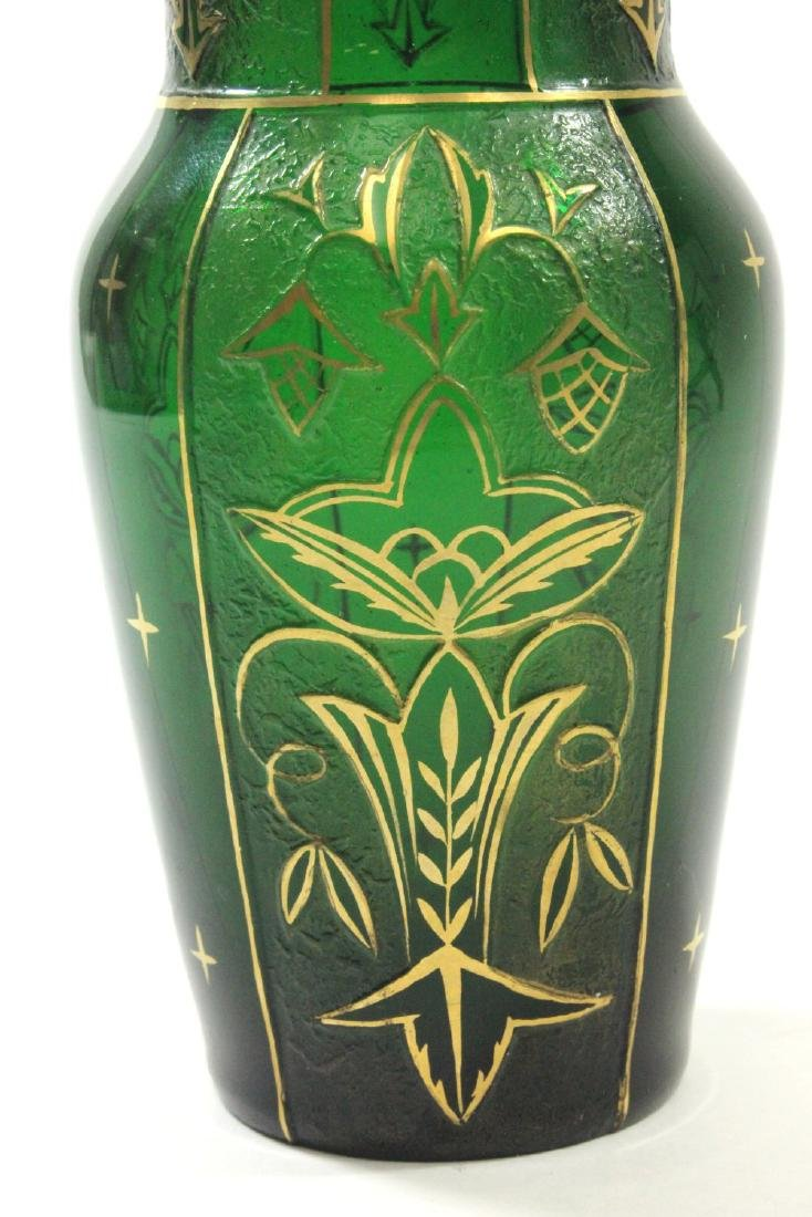 Pair Czech Green Glass Etched & Gilded Vases - 8