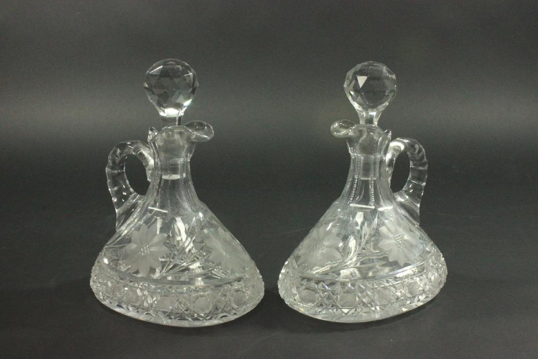 Pair Cut Crystal Decanters/Pitchers