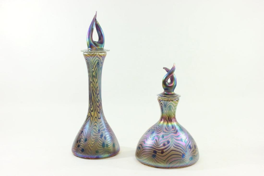 2 Iridescent Art Glass Bottles with Flame Stoppers