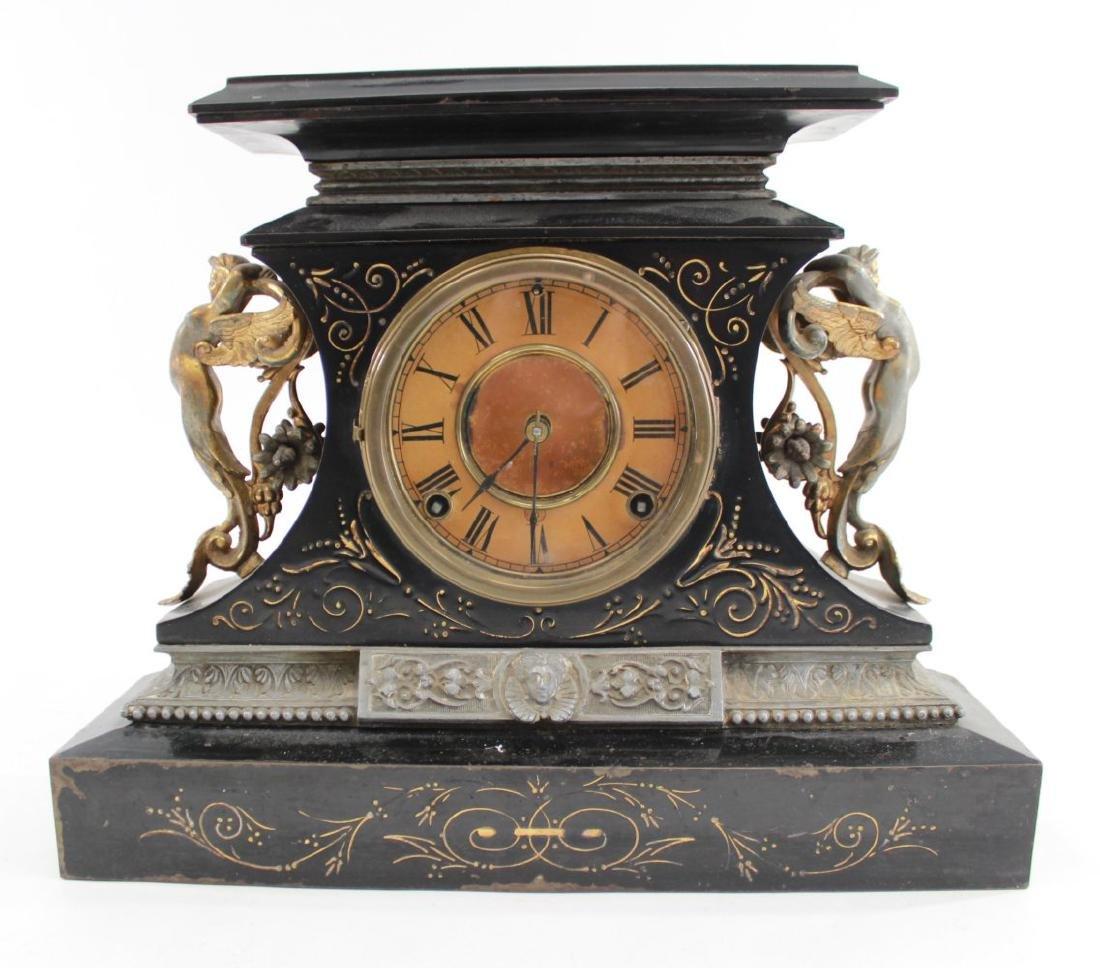 Ansonia Metal Figural Mantel Clock
