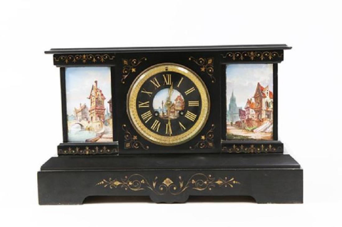 :19th Century Mantel Clock with Scenic Tiles