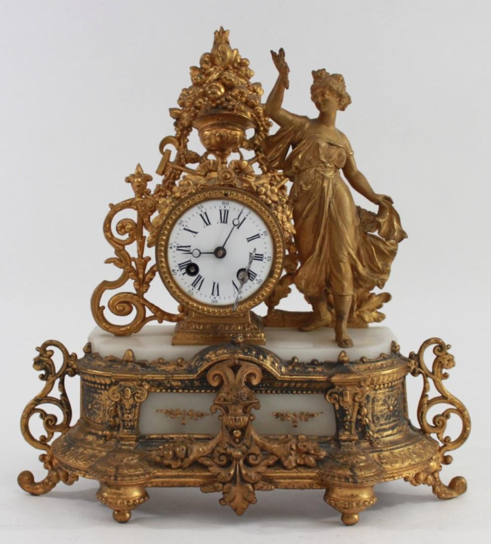 Gilt White Metal & Onyx Figural Clock
