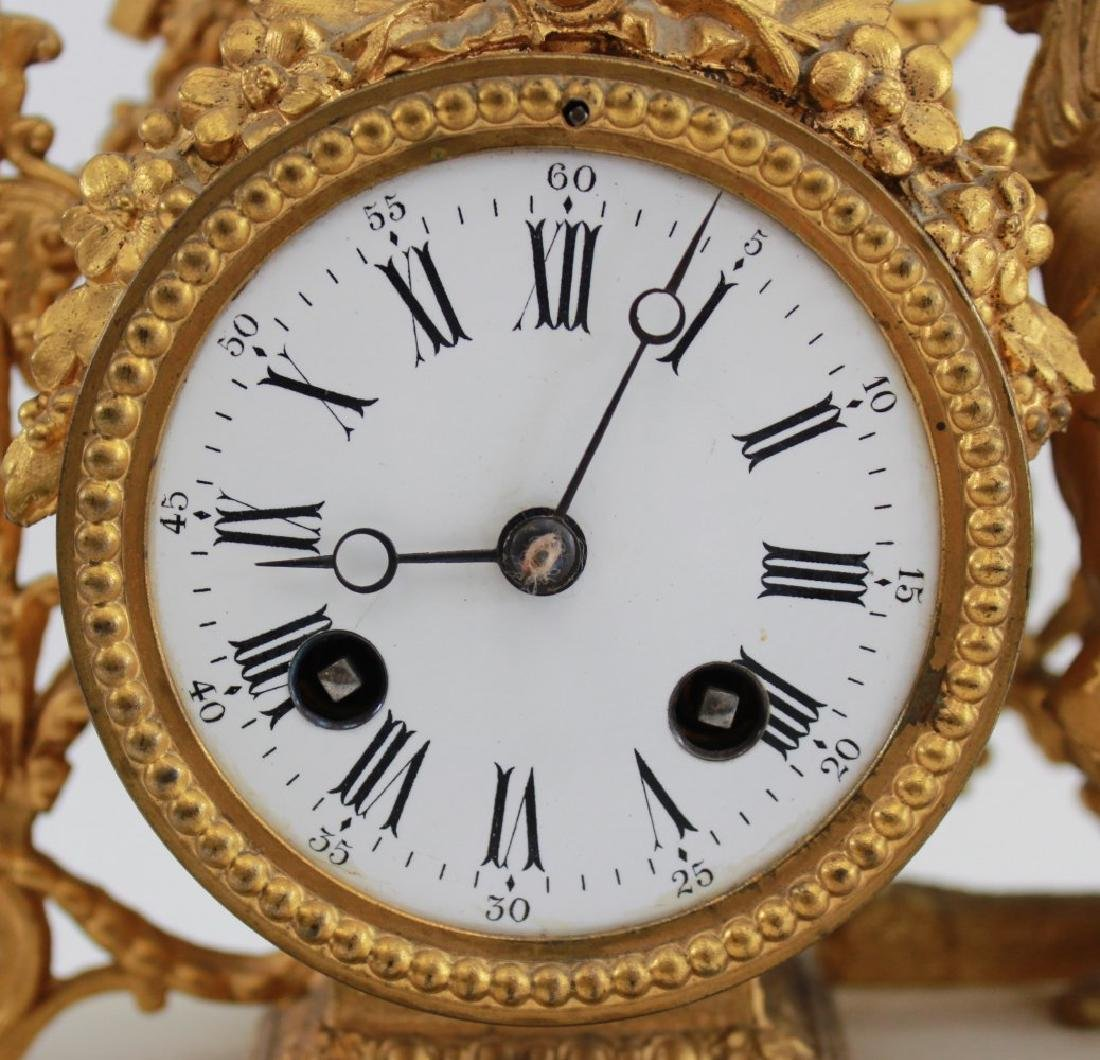 Gilt White Metal & Onyx Figural Clock - 2