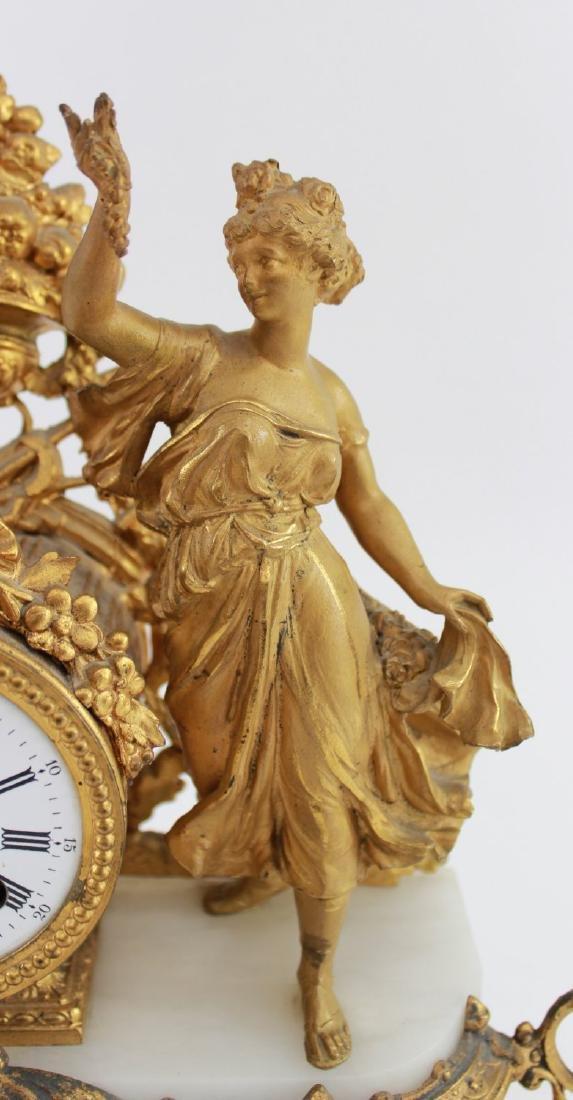 Gilt White Metal & Onyx Figural Clock - 4