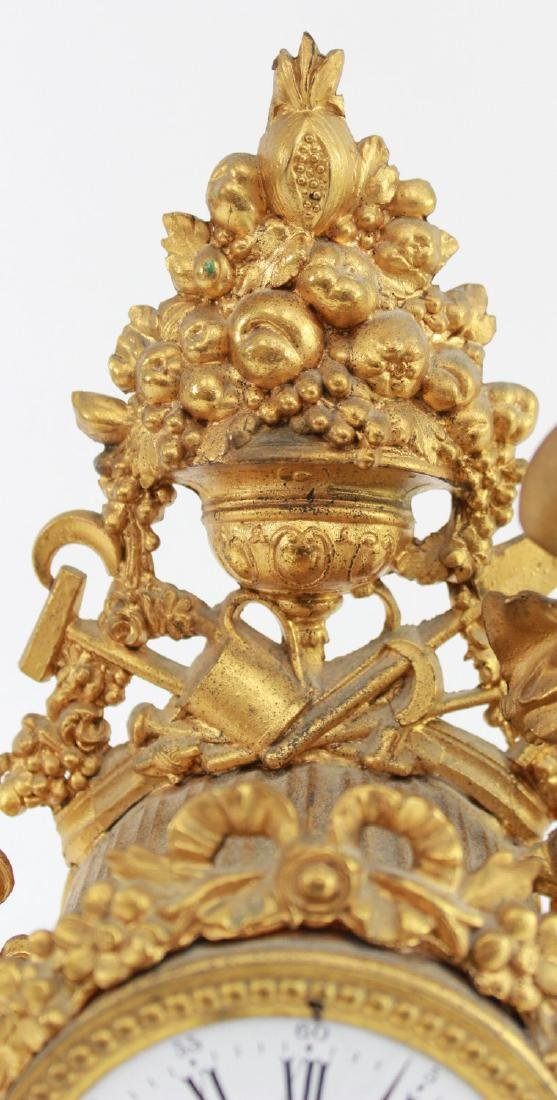 Gilt White Metal & Onyx Figural Clock - 5