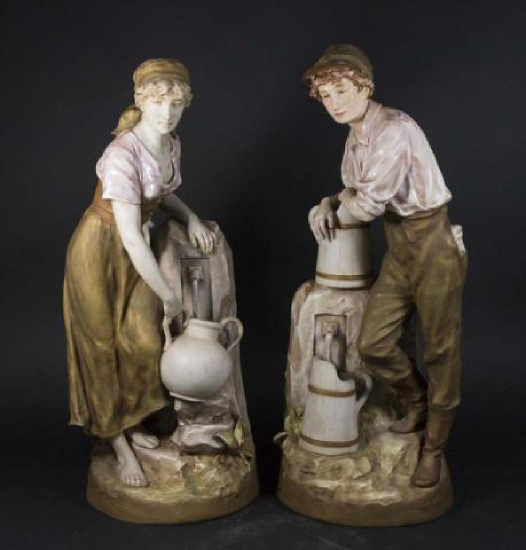:Pair Royal Dux Figures