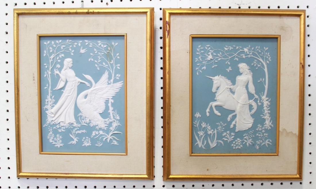 Pair Wedgwood Style Jasperware Decorative Plaques