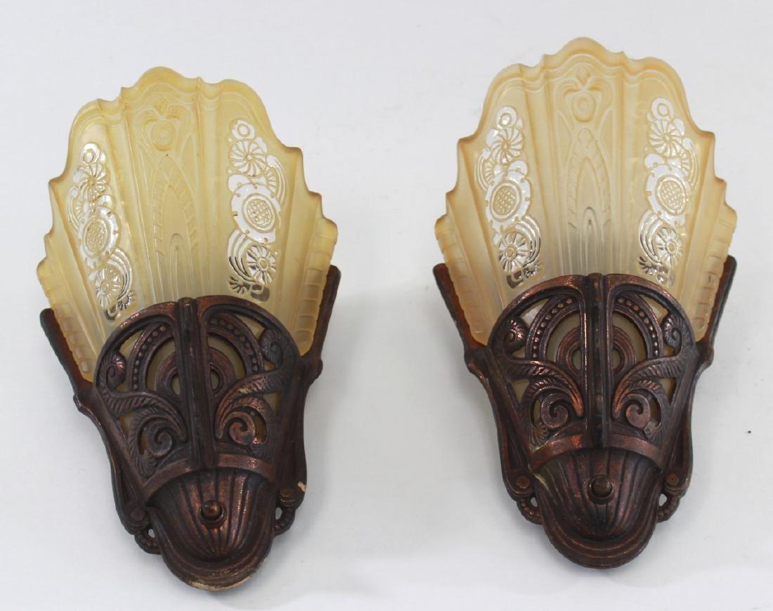 Pair Art Deco Slip Glass Shade Lightolier Sconces