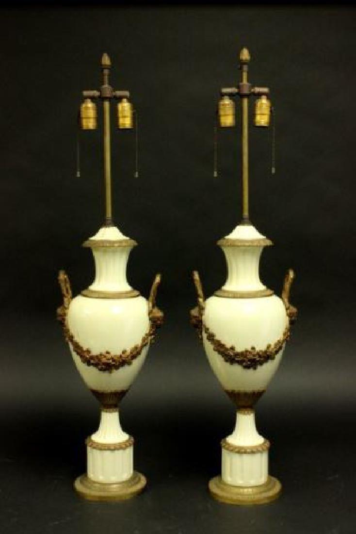 :Pair Figural Bronze on Porcelain Urns
