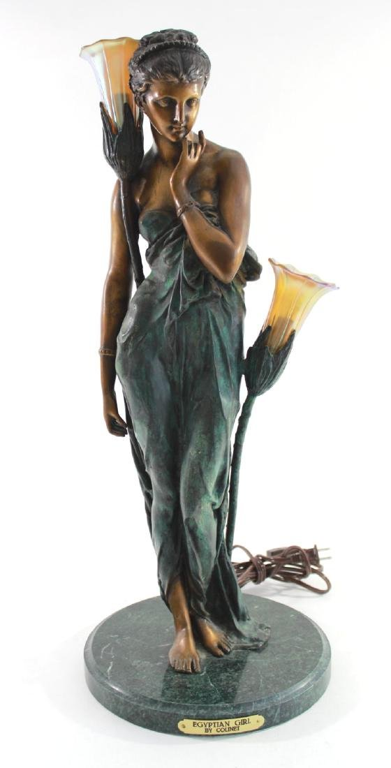 Contemporary Figural Bronze Lamp on Marble Base