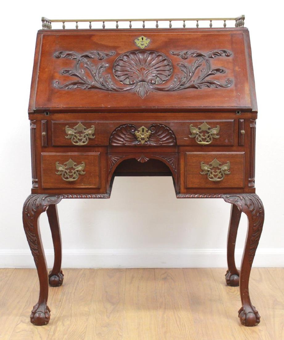 American Victorian Style Carved Slant Front Desk