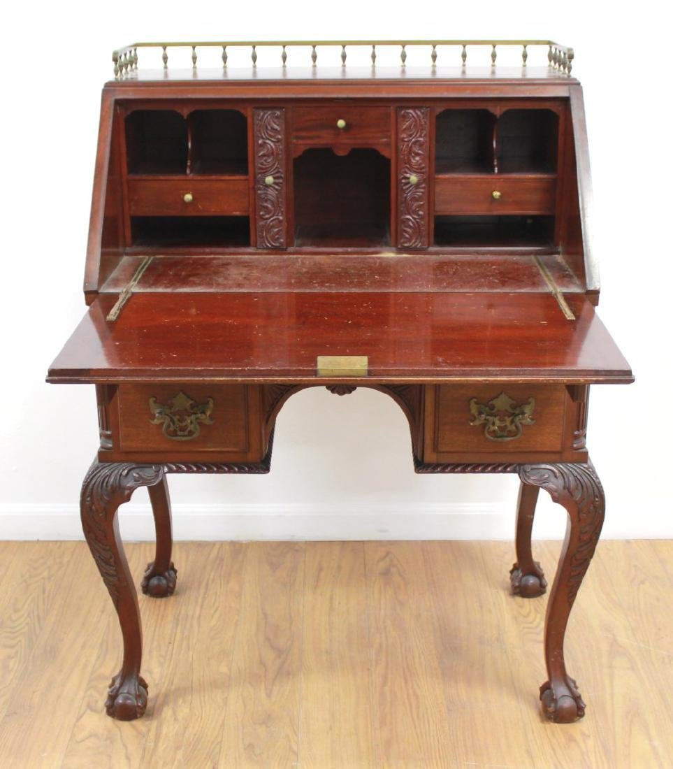 American Victorian Style Carved Slant Front Desk - 2