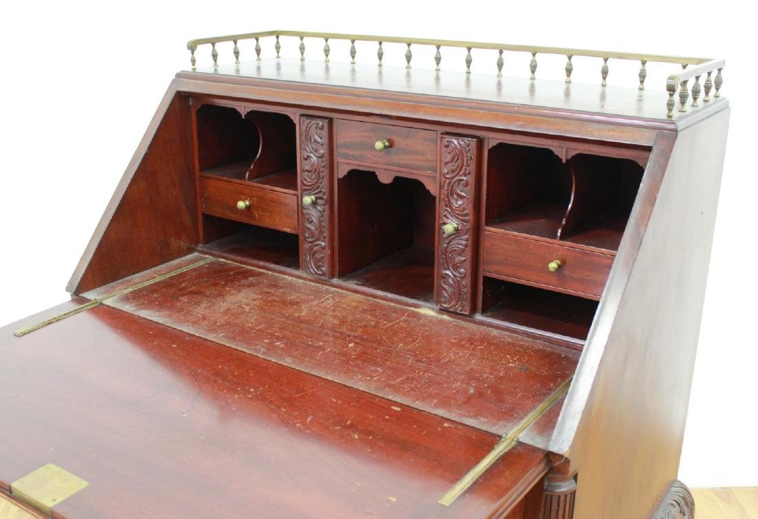 American Victorian Style Carved Slant Front Desk - 4