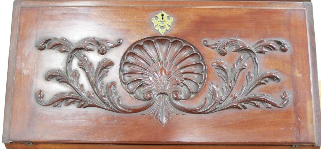 American Victorian Style Carved Slant Front Desk - 8