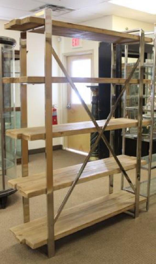 :Modern Chrome & Rustic Wood Etagère