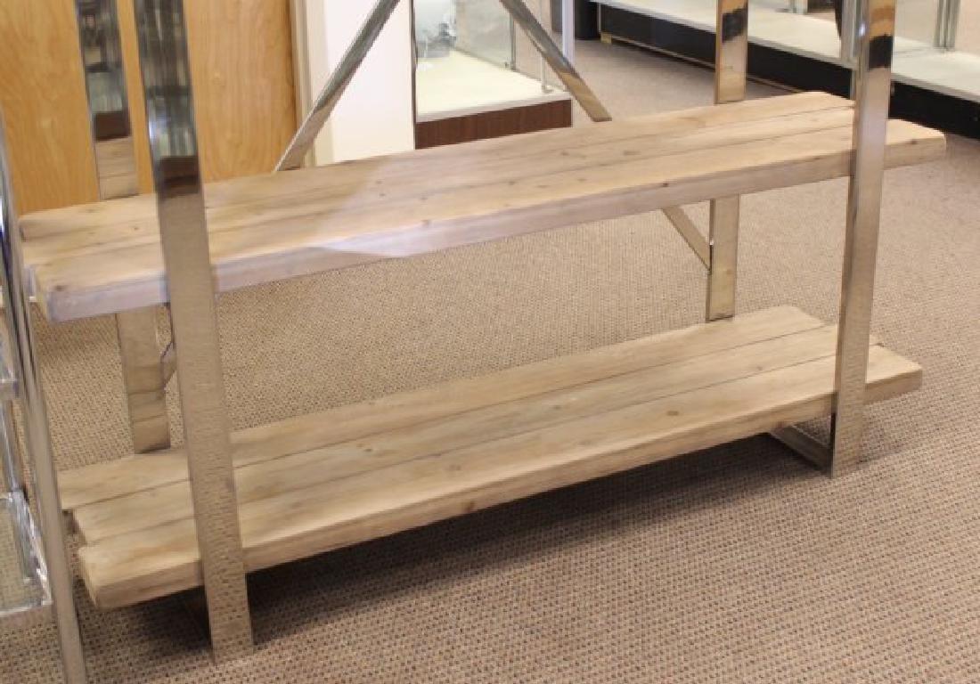 :Modern Chrome & Rustic Wood Etagère - 3