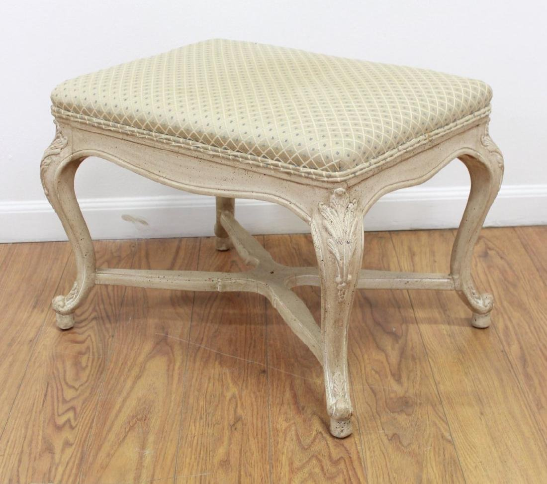Pair Louis XV Style Cream Painted X-Form Benches - 2
