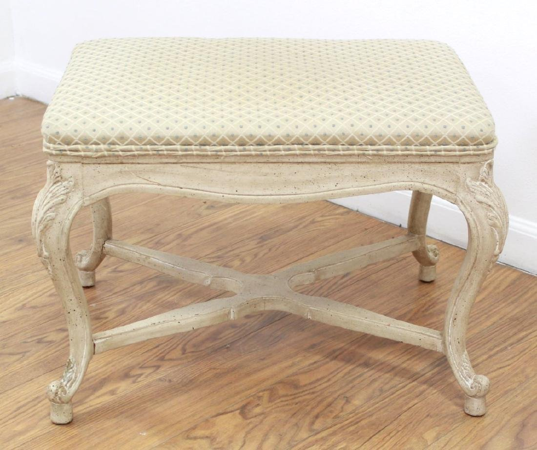 Pair Louis XV Style Cream Painted X-Form Benches - 3
