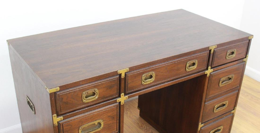 20th Century Campaign Style Pedestal Desk - 2