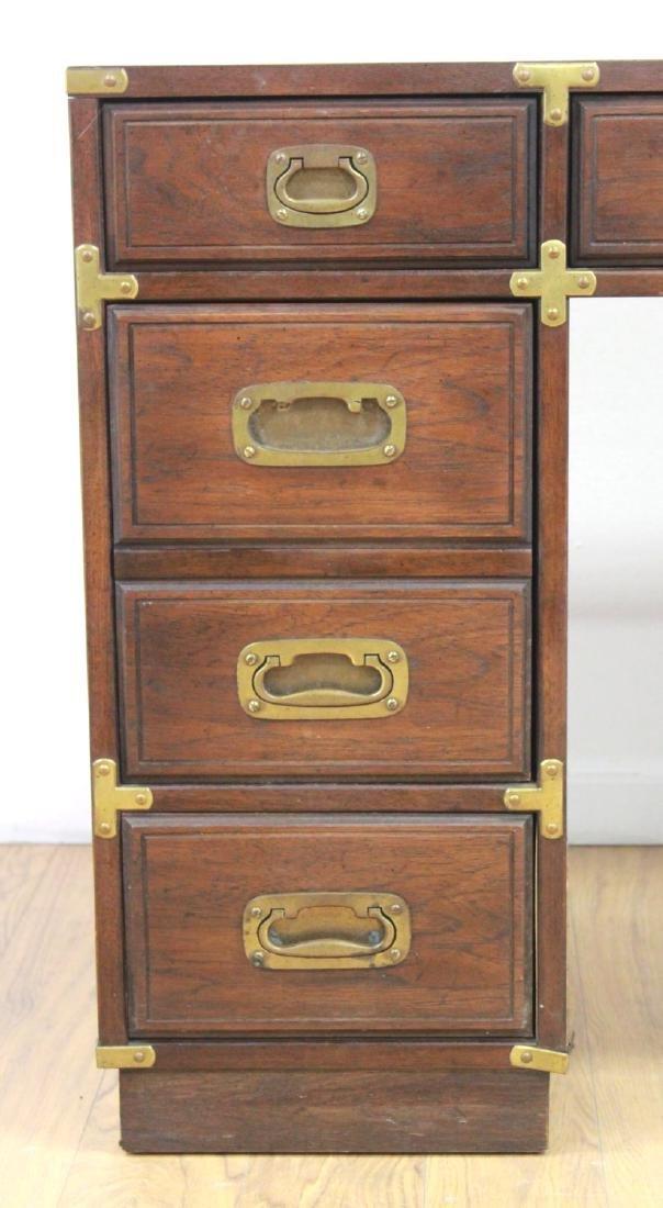 20th Century Campaign Style Pedestal Desk - 4