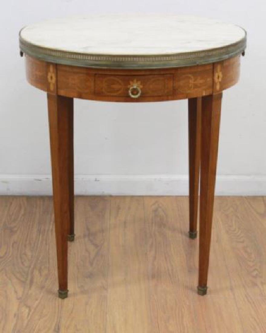 :Marble Top Marquetry Inlaid Bouillotte Table