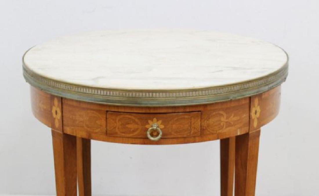 :Marble Top Marquetry Inlaid Bouillotte Table - 2