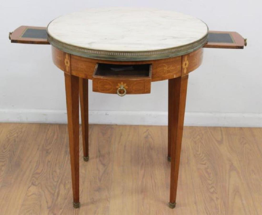 :Marble Top Marquetry Inlaid Bouillotte Table - 3