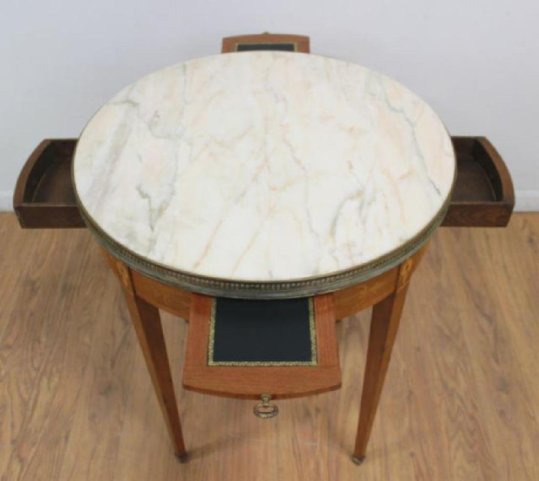 :Marble Top Marquetry Inlaid Bouillotte Table - 5