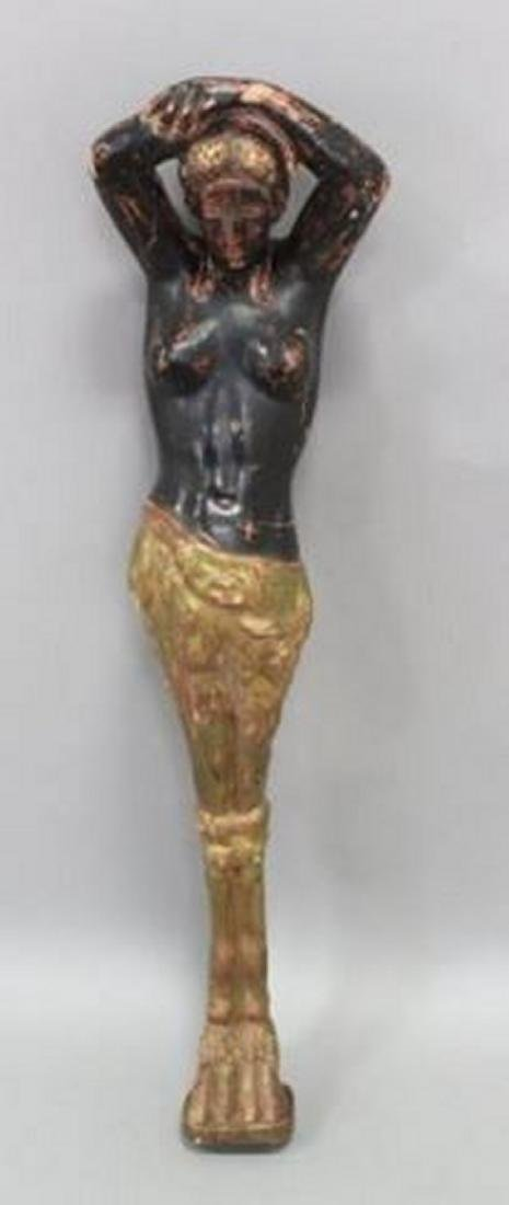 :Figural Paint Decorated Wood Column of a Woman