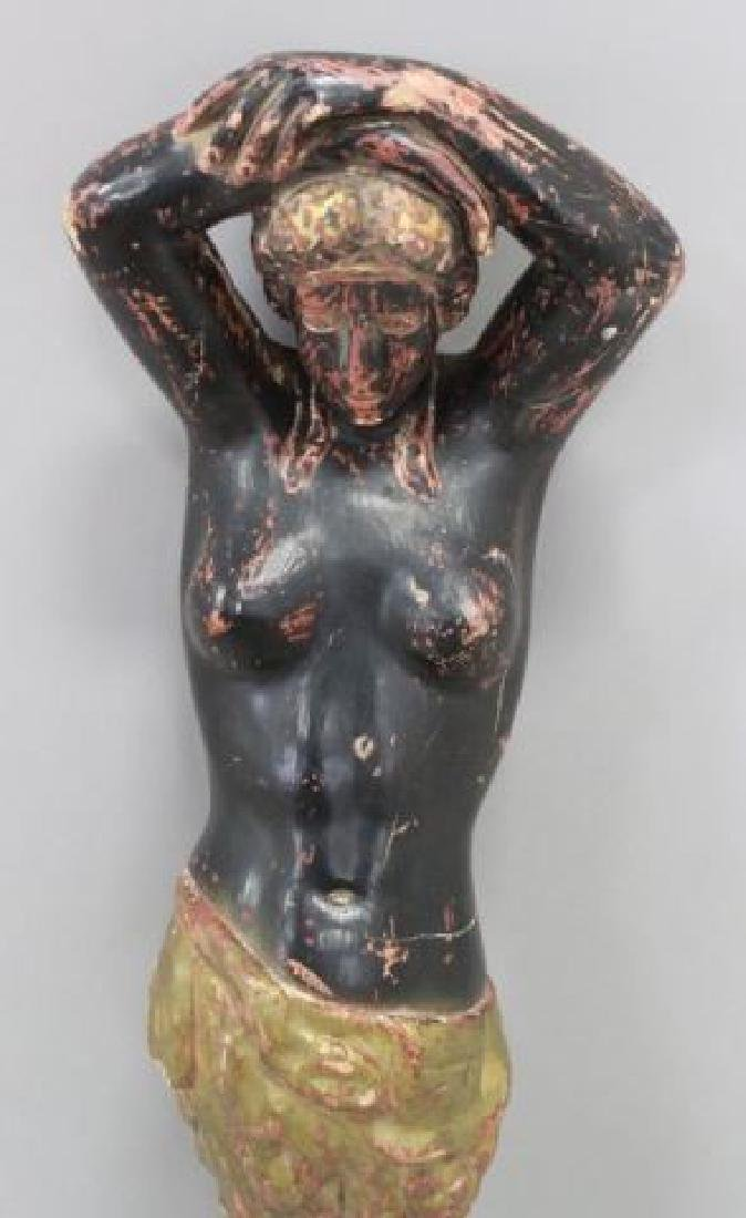 :Figural Paint Decorated Wood Column of a Woman - 2