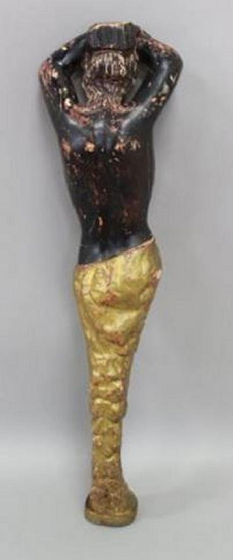 :Figural Paint Decorated Wood Column of a Woman - 4