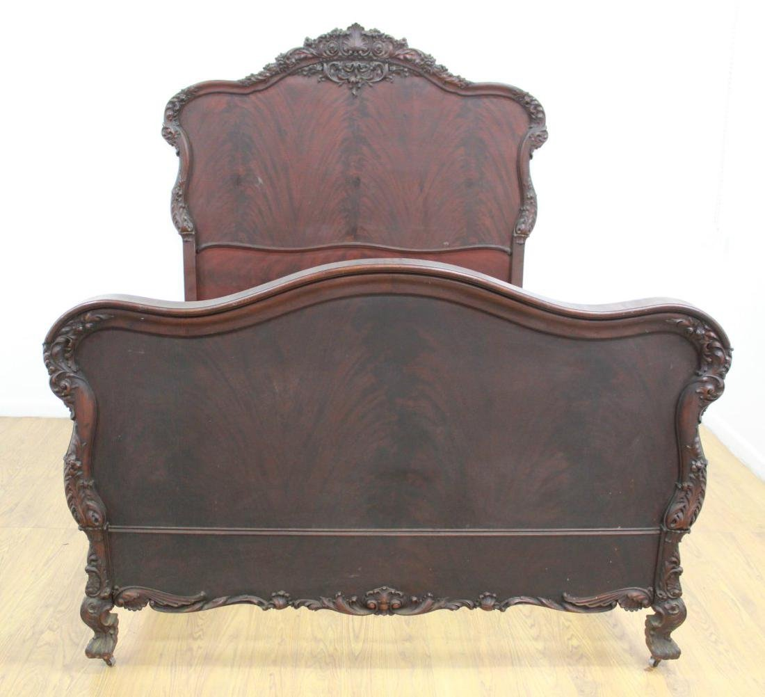 Carved Victorian Mahogany Headboard & Footboard