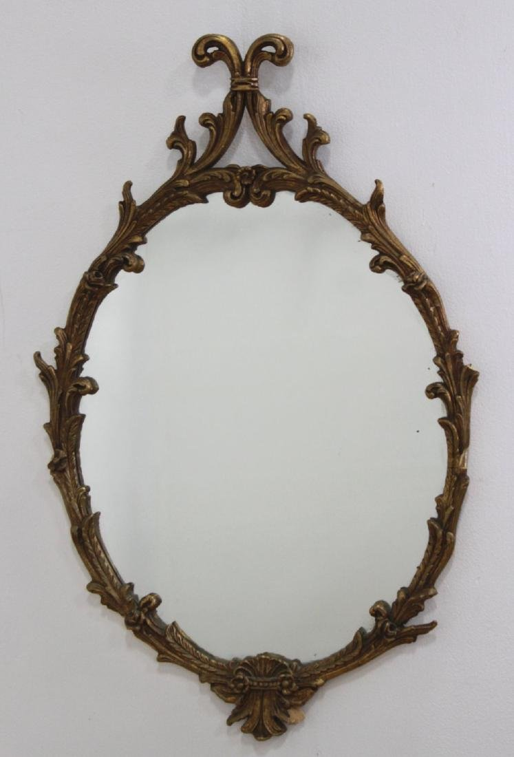 Oval Gilded Wood & Gesso Mirror