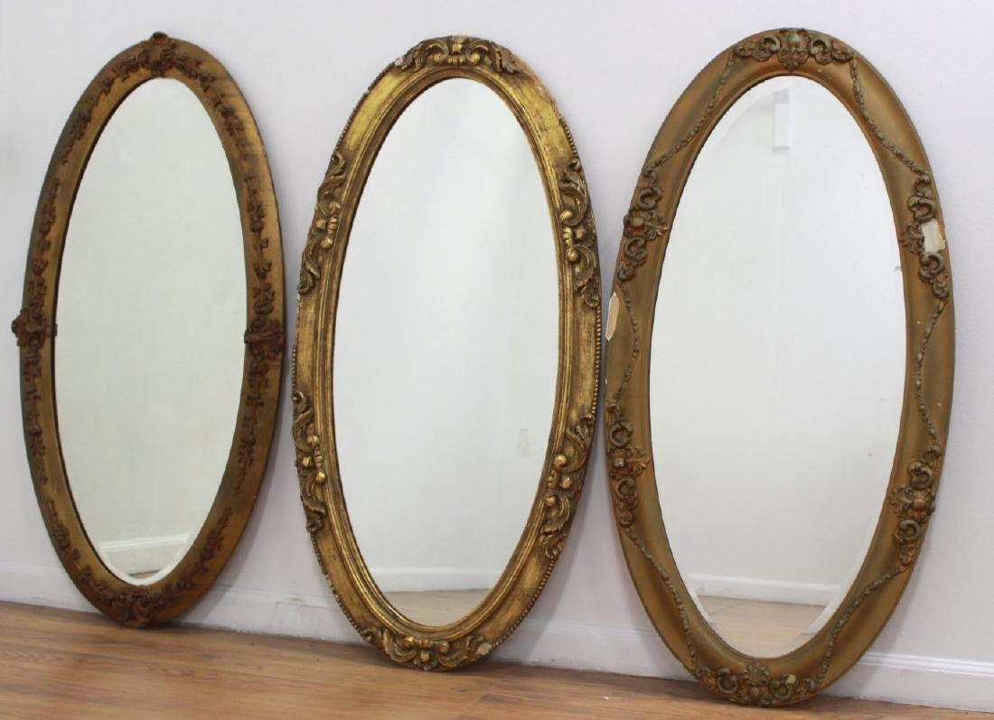 Lot of 3 Victorian Oval Gilded Mantel Mirrors