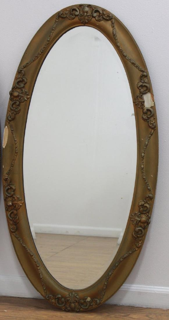 Lot of 3 Victorian Oval Gilded Mantel Mirrors - 2