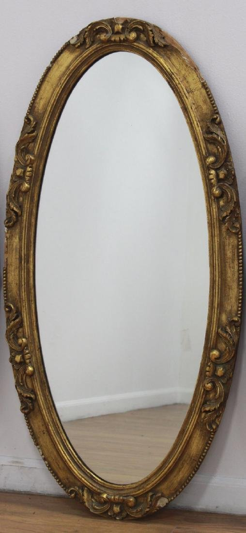 Lot of 3 Victorian Oval Gilded Mantel Mirrors - 3