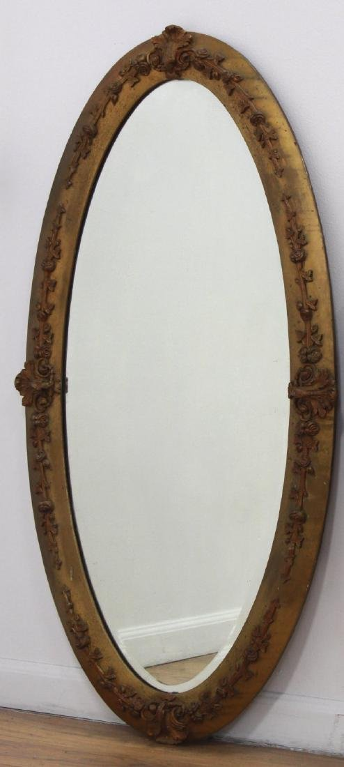 Lot of 3 Victorian Oval Gilded Mantel Mirrors - 4