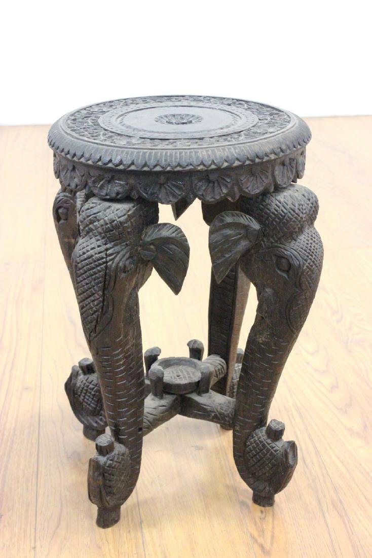 Set 3 Carved Figural Indian Round Taboret Tables - 2