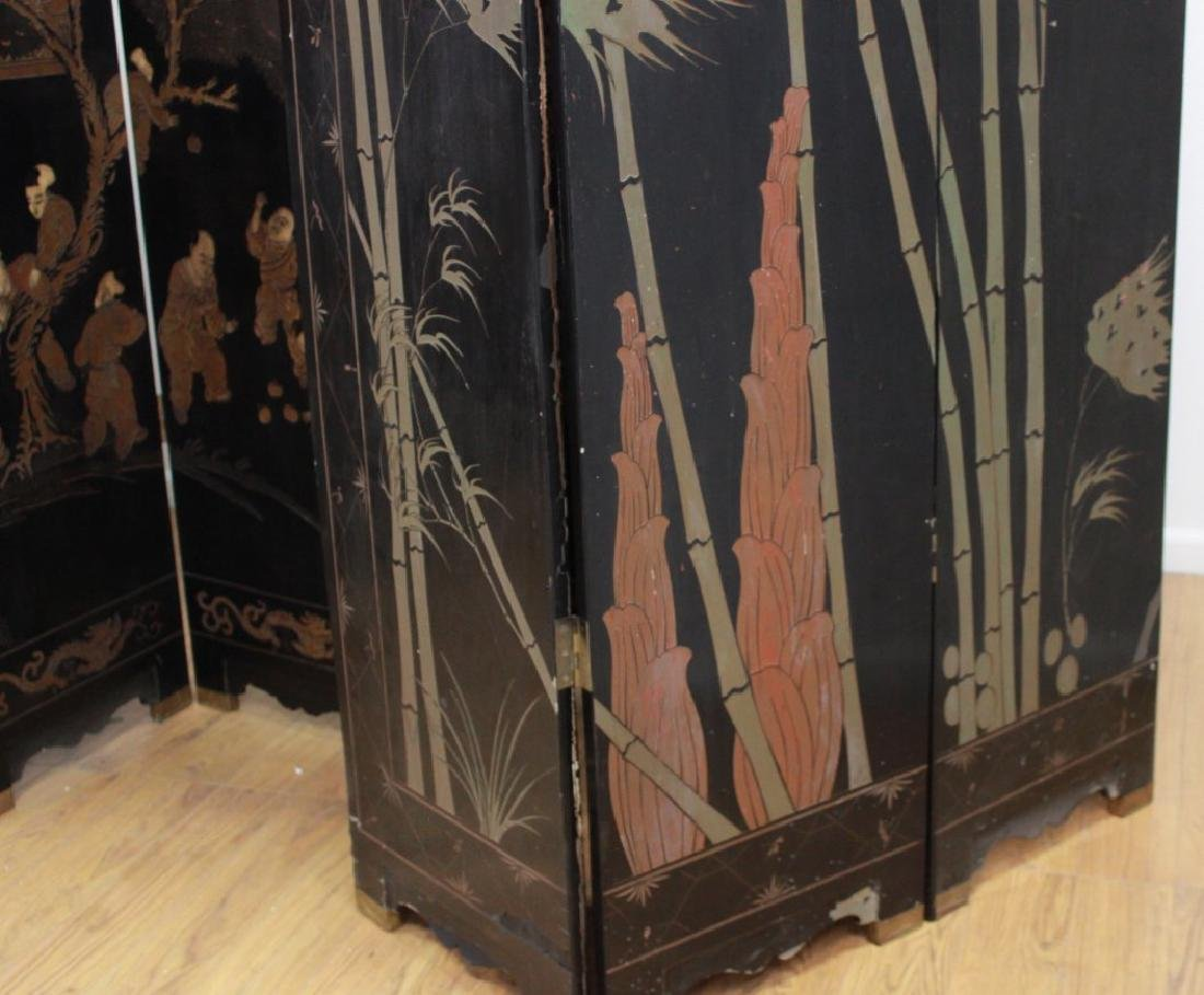 Oversized 12-Panel Oriental Ebonized Screen - 10