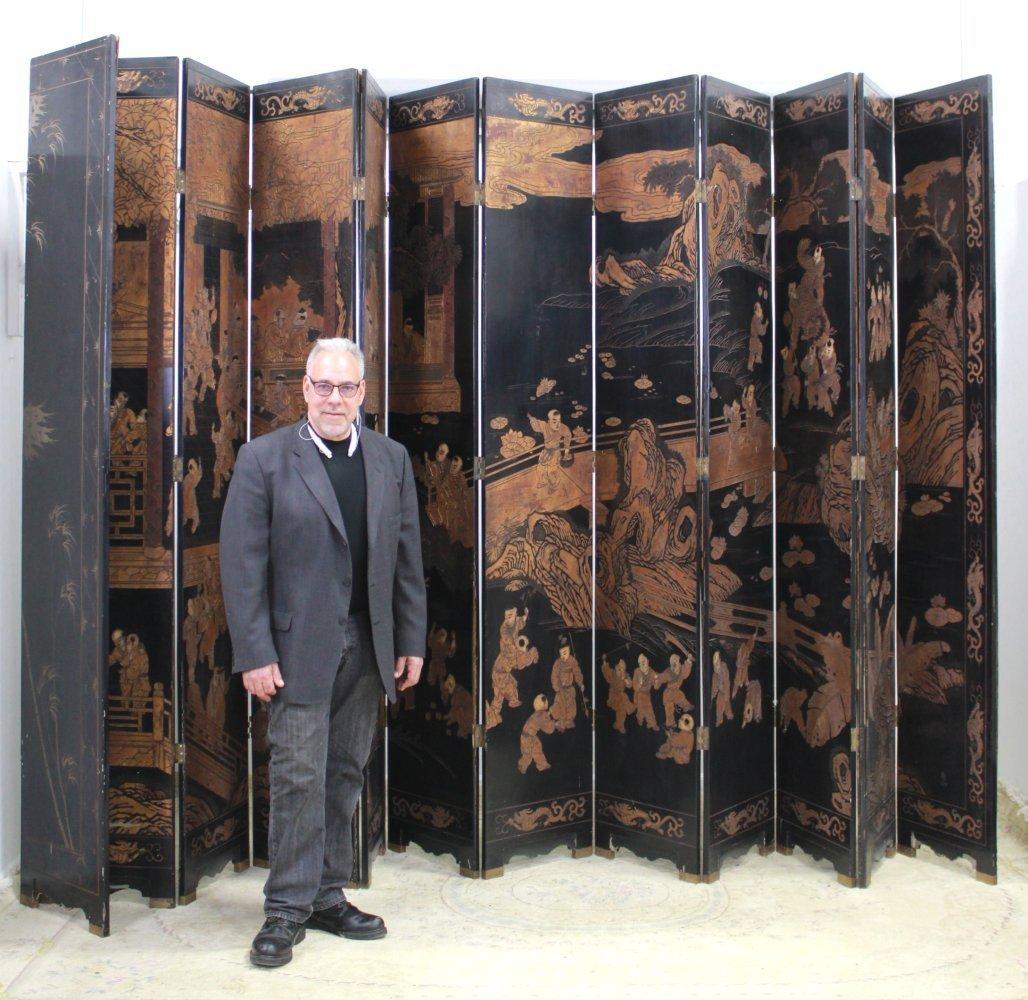 Oversized 12-Panel Oriental Ebonized Screen