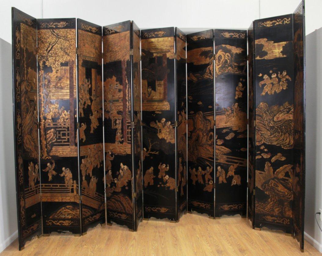 Oversized 12-Panel Oriental Ebonized Screen - 2