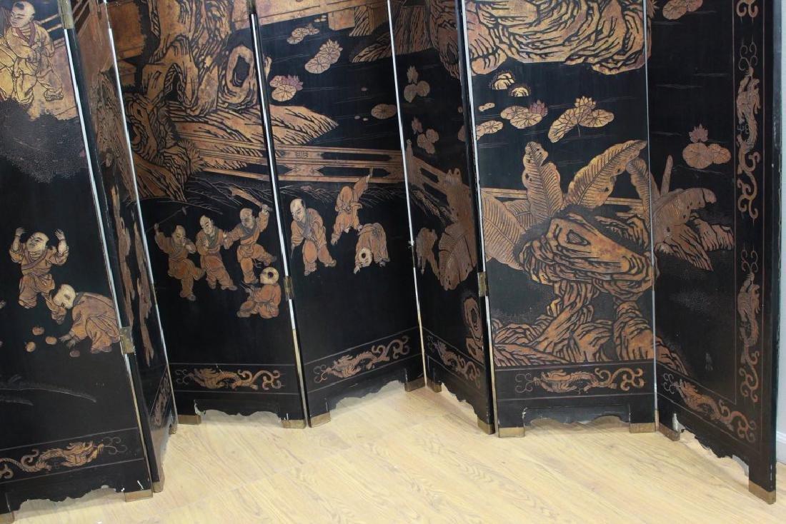 Oversized 12-Panel Oriental Ebonized Screen - 3