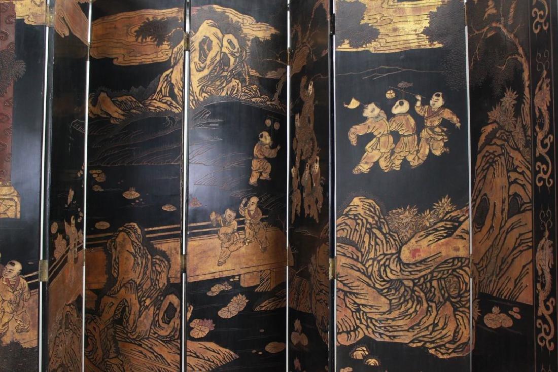 Oversized 12-Panel Oriental Ebonized Screen - 4