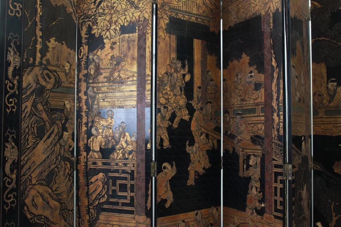 Oversized 12-Panel Oriental Ebonized Screen - 5