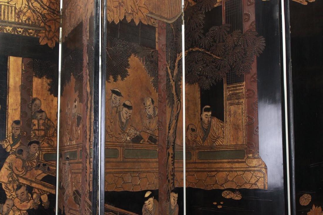Oversized 12-Panel Oriental Ebonized Screen - 6