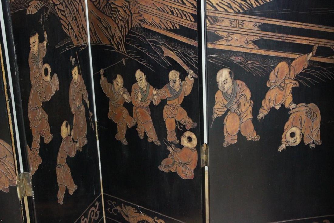 Oversized 12-Panel Oriental Ebonized Screen - 7