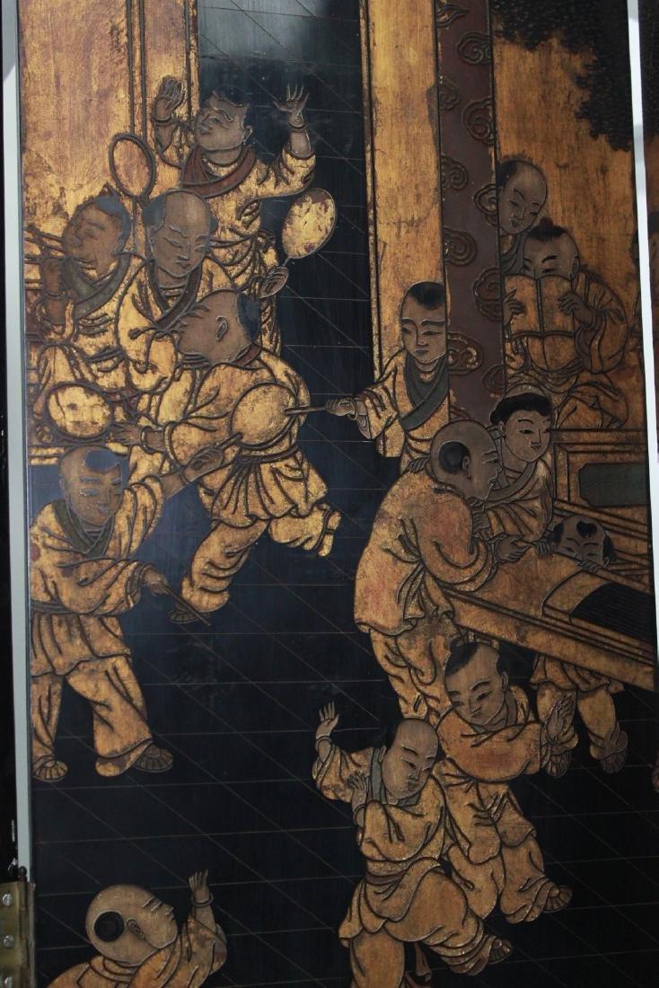 Oversized 12-Panel Oriental Ebonized Screen - 8